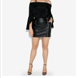 High wasted vegan leather zip mini skirt
